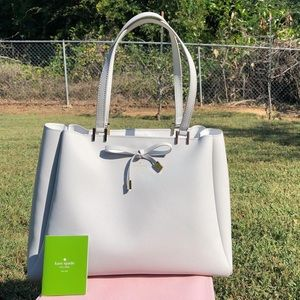 Kate Spade Cherrywood St Nell Gray Leather Tote